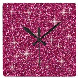 Relógio Quadrado Brilho iridescente cor-de-rosa