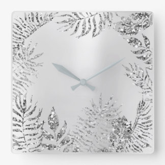 Relógio Quadrado Brilho metálico de Monochrom da palma floral do