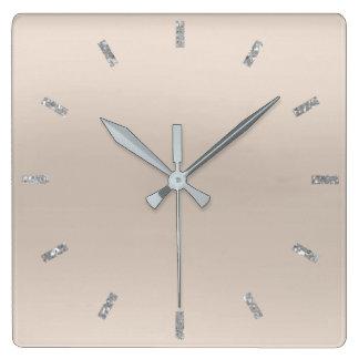 Relógio Quadrado Brilho mínimo Pastel de prata cinzento de Ombre do