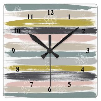 Relógio Quadrado Brushstrokes e arte moderna do meio século dos