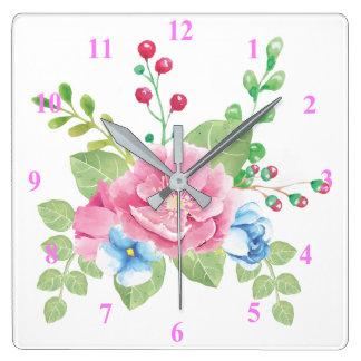 Relógio Quadrado Buquê floral da aguarela bonito