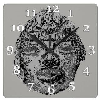 Relógio Quadrado Cabeça de Teotihuacan