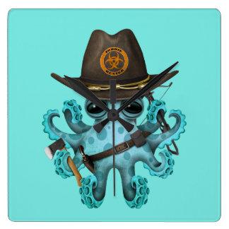 Relógio Quadrado Caçador do zombi do polvo do bebê azul