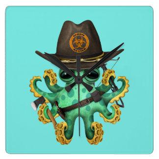 Relógio Quadrado Caçador verde do zombi do polvo do bebê