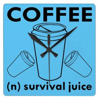 Relógio Quadrado Café (n) suco da sobrevivência
