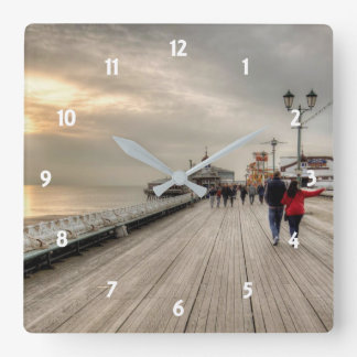 Relógio Quadrado Cais litoral cénico Reino Unido de Blackpool da