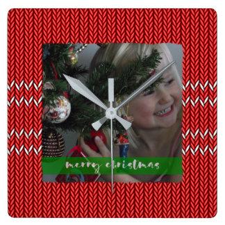 Relógio Quadrado Camisola do vermelho do Feliz Natal