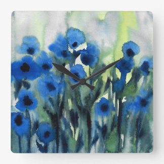 """Relógio Quadrado """"Campo azul aguarela abstrata das flores"""""""