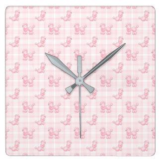 Relógio Quadrado Caniches cor-de-rosa bonitos & verificações