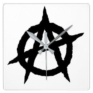 Relógio Quadrado Caos do sinal da cultura da música do punk do