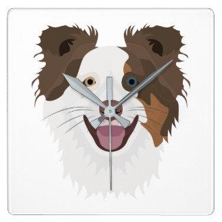 Relógio Quadrado Cara feliz border collie dos cães da ilustração