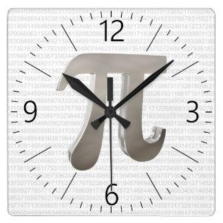 Relógio Quadrado Caráter bonito do pi do metal