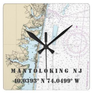 Relógio Quadrado Carta náutica da longitude da latitude de