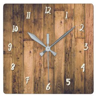 Relógio Quadrado Casa da quinta de madeira de madeira das pranchas
