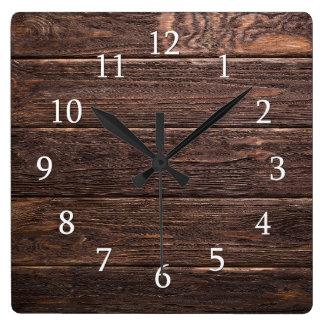 Relógio Quadrado Casa da quinta de madeira rústica do país