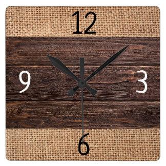 Relógio Quadrado Casa da quinta rústica da madeira e da