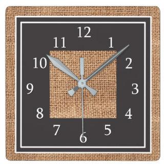 Relógio Quadrado Casa da quinta rústica do país de serapilheira