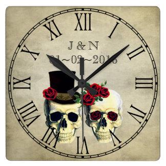 Relógio Quadrado Casamento feito sob encomenda do casal dos crânios