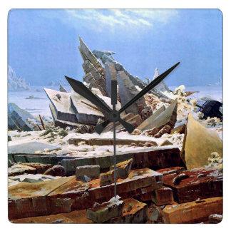 Relógio Quadrado CASPAR DAVID FRIEDRICH - o mar do gelo 1824