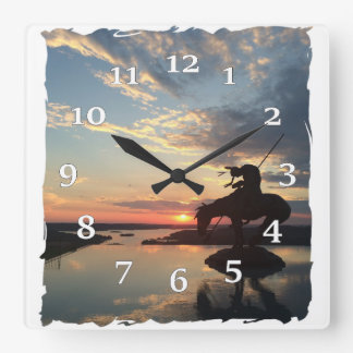 Relógio Quadrado Cavaleiro do nativo americano