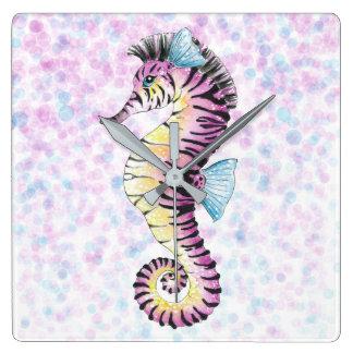Relógio Quadrado cavalo marinho cor-de-rosa