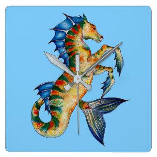 Relógio Quadrado Cavalo marinho no azul