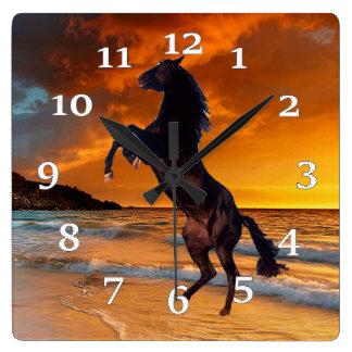 Relógio Quadrado Cavalo preto
