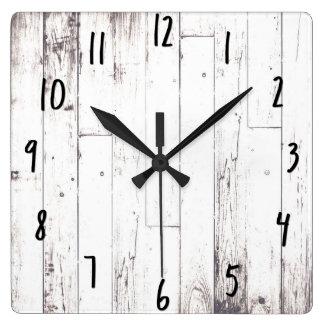 Relógio Quadrado Celeiro rústico de madeira branco da casa da