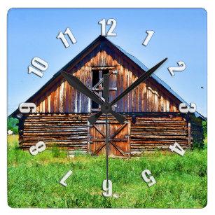 87771cc0be6 Relógio Quadrado Celeiro rústico na arte do rancho de gado