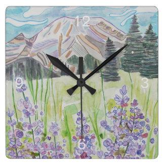 Relógio Quadrado Cena abstrata da montanha