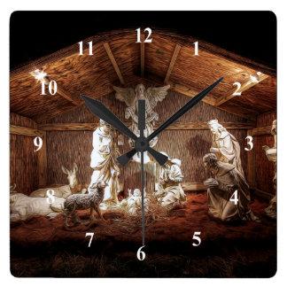 Relógio Quadrado Cena do comedoiro da natividade de Jesus do