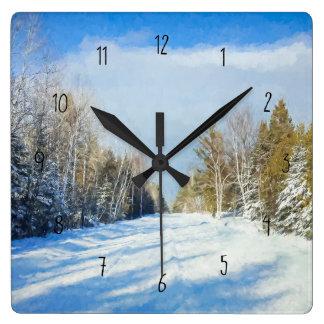 Relógio Quadrado Cena nevado da estrada do inverno