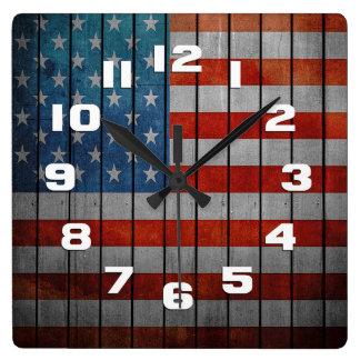 Relógio Quadrado Cerca pintada da bandeira americana