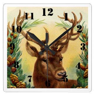 Relógio Quadrado Cervos rústicos elegantes