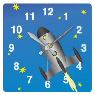 Relógio Quadrado Céu estrelado de Rocketship