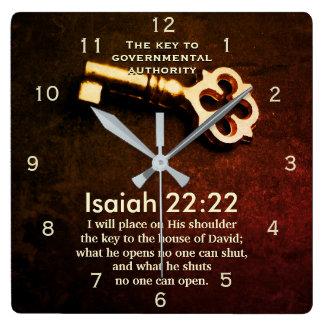 Relógio Quadrado Chave do 22:22 de Isaiah à casa do verso da bíblia