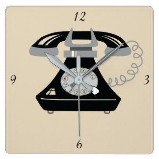 Relógio Quadrado Chique preto legal retro moderno dos desenhos