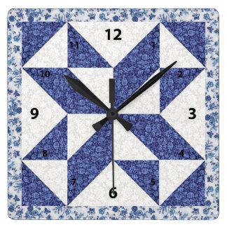 Relógio Quadrado Chita azul bonita olhar acolchoado