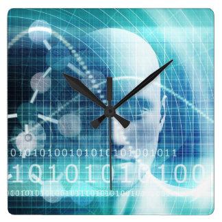 Relógio Quadrado Cientistas da educação e tornar-se da ciência