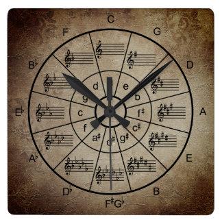 Relógio Quadrado Círculo de músicos marrons da cor dos quintos