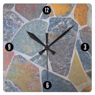 Relógio Quadrado Cobblestones pintados elegantes/pedras decorativas