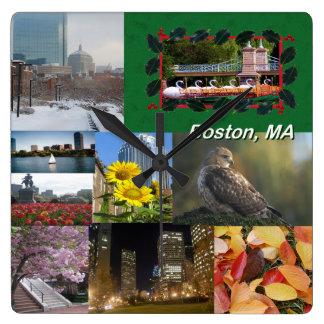 Relógio Quadrado Colagem da foto de Boston, Massachusetts