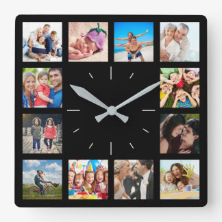 Relógio Quadrado Colagem da foto de família de Instagram do costume