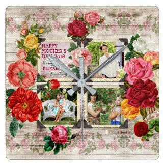 Relógio Quadrado Colagem da foto do vintage de Instagram dos rosas
