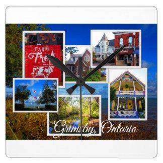 Relógio Quadrado Colagem de Grimsby Ontário