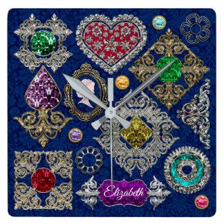 Relógio Quadrado Colagem lindo de pedra preciosa do broche da jóia