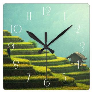 Relógio Quadrado Colheita do arroz da agricultura de China