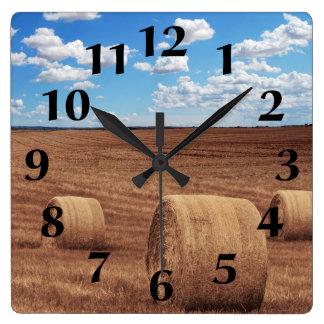 Relógio Quadrado Colheita dos pacotes de feno