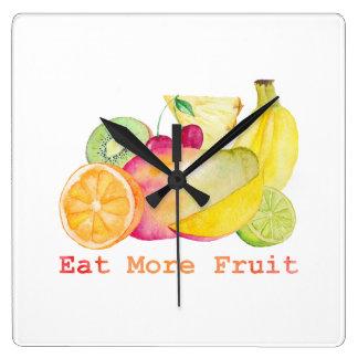 Relógio Quadrado Coma mais aguarela da fruta