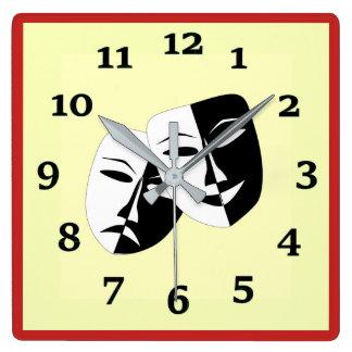 Relógio Quadrado Comédia e tragédia